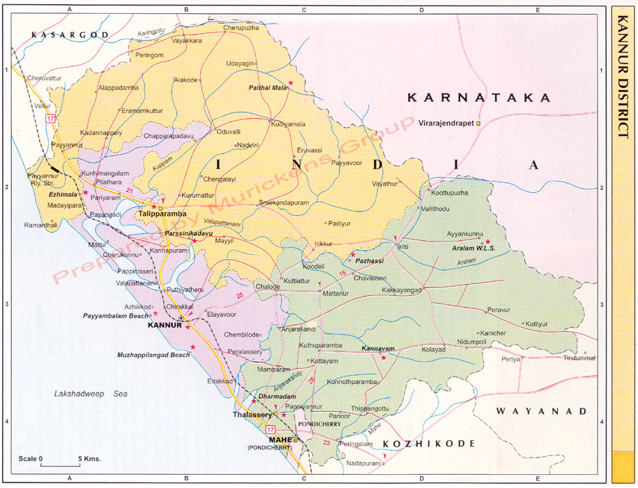 Kannur District Was Formed In January Km Seashore Sahya - Kannur map